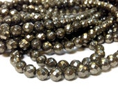 Full Strand 4 mm Natural Pyrite Faceted Round Beads Gemstone 64 Faces (G5930P32Q5)
