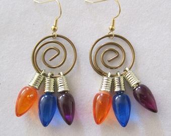 Holiday Christmas Mini Light Earrings,Purple Blue Orange