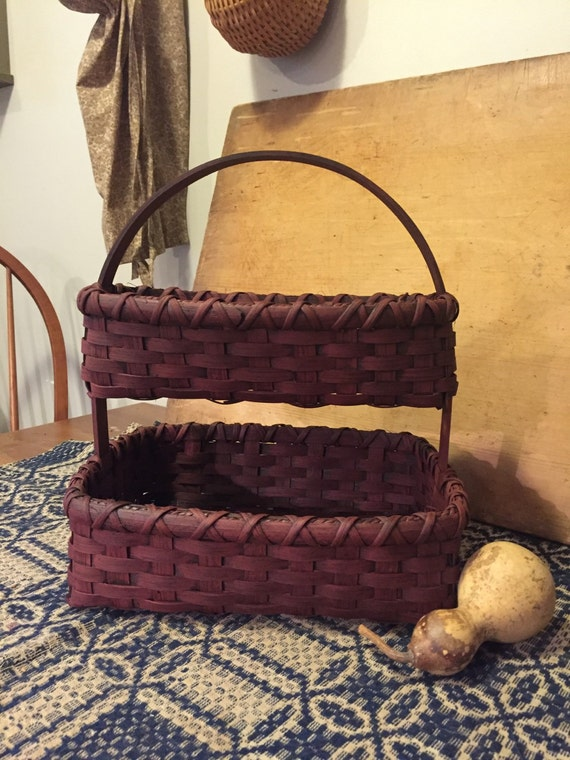 Double Decker Needlework Basket, 2 Layer Basket with Handle, Primitive Rug Hooking, Farmhouse Decor, Rustic Home