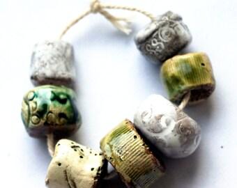 Immensity of the sea -- 7 ceramic art beads