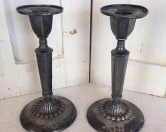 Vintage silver engraved candlesticks