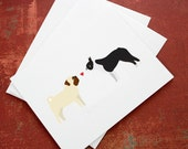 Pug and Boston Terrier Valentine's card.
