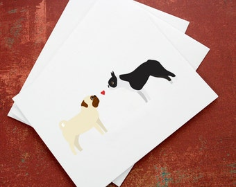 Valentine's pug and boston terrier love note card set. (set of 6) Blank for own personal message.