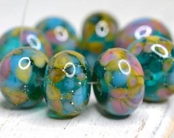 SRA handmade, gorgeous lavender, aqua, light green, sky blue lampwork bead set of 8 for making jewelry 60116-9