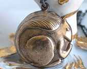 Large Squirrel Necklace - Big Brass Vintage Puffy Hollow Squirrel Charm - Gift Idea For The Squirrel Lover