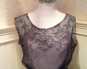 Vintage Edwardian Beaded Net Bodice Top Titanic Era  Downton Abbey Style Lovely Color