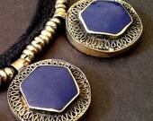 20% WINTER SALE LAPIS Lazuli Embossed Tibetan Silver Pendant Choker Necklace / Unknown Origin / Bold and Chunky Statement Jewelry