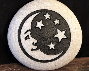 Engraved Natural Round, Smooth River Stone - Moon & Stars