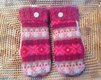 Upcycled Wool Handmade Mittens - Red and Pink - A perfect Valentine's Day Gift