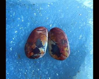 New,Multi-Color Picasso Jasper Cabochon Pair,23x15x4mm,4.5g