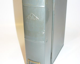 Vintage Industrial ASCO Book Shaped Metal File Box – Bookshelf Filing System 1950s