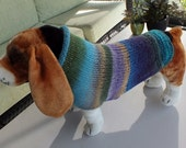 Dog Coat Hand Knit NORO Pax Large 16.5 inches long Noro Merino Wool