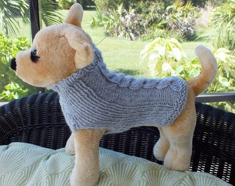 """Dog Sweater Hand Knit  xxsmall  cable grey 10"""" long wool"""