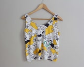 SALE 80s crazy print, abstract cartoon and sequin crop tank, size S