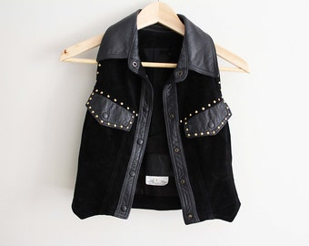 80s gold studded leather western biker vest, size S