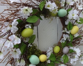 Easter Wreath Easter Egg Wreath Twig Wreath  Spring and Summer Wreath  Front Door Wreath  Easter Gift  Dogwood Wreath  Clearance Priced