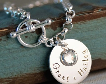 Hand Stamped Toggle Bracelet - Personalized Charm Bracelet - Mommy Bracelet with birthstone - My little ones