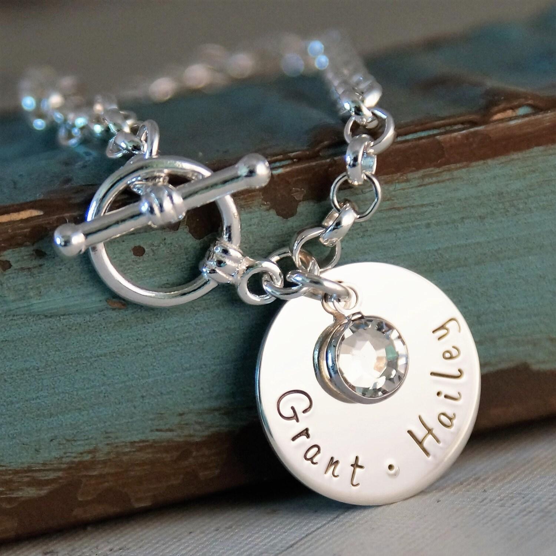Toggle Charm Bracelet: Hand Stamped Toggle Bracelet Personalized Charm Bracelet