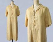 1920s Dress / 20s Pale Yellow Cotton Linen Day Dress / Art Deco Seamwork / Painted Czech Glass Buttons / L