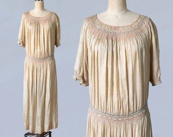 1920s Dress / 20s Embroidered Peasant Dress / Smocked Hip and Shoulders / Natural Pongee Silk / Workwear