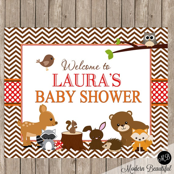 woodland baby shower welcome sign forest friends welcome sign baby