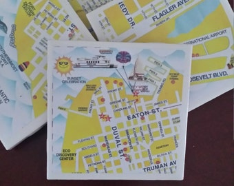 Map Coasters - Key West Street Coasters... Duval St, Southernmost  Point, Mallory Square, Full cork bottoms....For Drinks and Candles