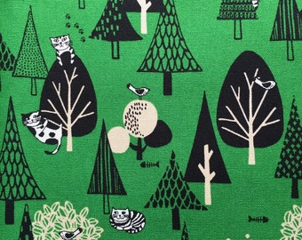 Cat in wondered fo printed Half yard green colour