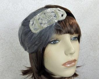 Gatsby Costume Feather Headband, 1920s Headband, Gatsby Headpiece, Silver Gatsby Headband, Beaded Headband, Flapper Headband