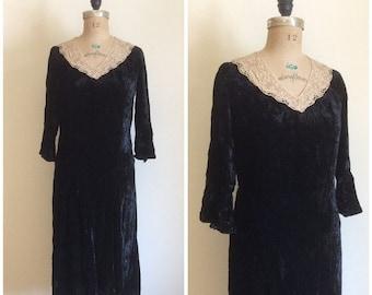 SALE 1920s Lace Black Velvet Party Dress 20s Flapper