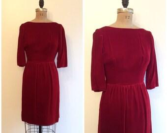1950s 60s Velvet Dress 50s 60s Red Party Dress
