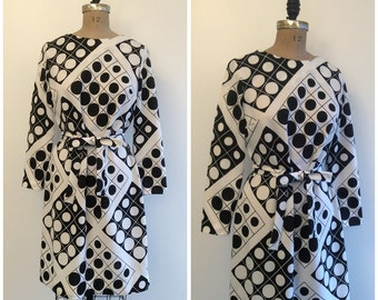 1960s Polka Dot Mod Scooter Dress 60s Black And White Psychedelic Op Art