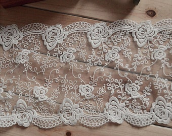"5 yard 18cm 7.08"" wide ivory mesh tulle gauze fabric embroidered tapes lace trim ribbon 1141 free ship"
