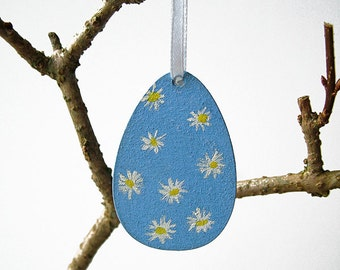 One hand painted Easter egg hanging ornament, decoration