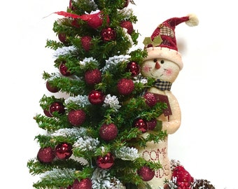 "Tall Snowman Centerpiece Arrangement  Pine Tree Table Top Tree Decoration Winter Christmas Table Decor 23"" (h) x 14"" (w)"