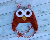 Crochet Earflap Owl Hat - Orange and Gray