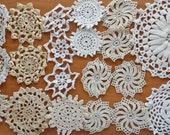 20 Imperfect Vintage Hand Crochet Doilies, Small Crocheted Doilies, Craft Doilies