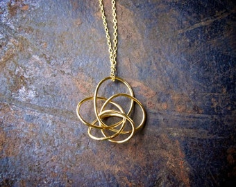 Long Gold Statement Necklace / Long Gold Necklace / Long Everyday Necklace / Long Twisted Pendant Necklace / Unique Necklace for Women