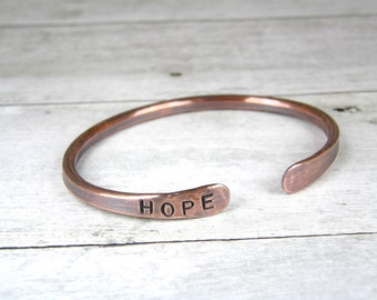 HOPE Copper Bracelet, Hand Stamped Hammered Copper Bangle, Antiqued Copper Bracelet, Mens or Womens