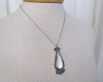 Vintage Mother of pearl Art Deco style marcasite sterling silver necklace