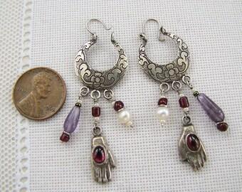Garnet Amethyst sterling silver dangle earrings