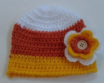 Halloween Candy Corn Baby Girl Hat Orange White and Yellow/Costume/Photography Prop