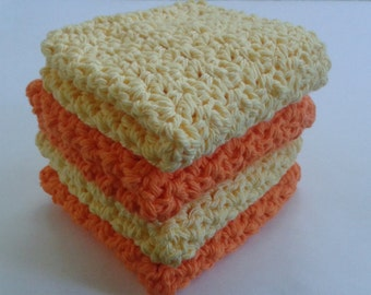 Cloth Pads Reusable, Crocheted Cotton Dishcloths, Washcloths, Set of 4- Orange and Yellow