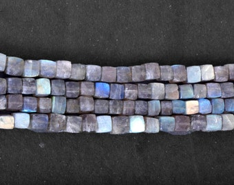 AAA Quality Fine Cut Labradorite Faceted Cubes Briolettes Size 8 mm Approx Full Strand Of 8 Inches.