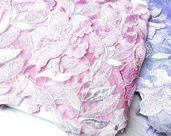 Gorgeours Tulle Lace Trim Lily Flowers Embroidered Scalloped Tulle Lace 6.69 Inches Wide 2 Colors