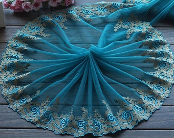 2 Yards Lace Trim Lakeblue Floral Embroidered Tulle Lace 10.23 Inches Wide High Quality