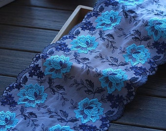 2 Yards Lace Trim Cyan Rose Flowers Embroidered Tulle Lace 8.26 Inches Wide High Quality