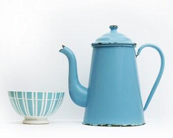 Large enamelware French vintage light  lavender blue enamel coffee pot, enamel vase, enamelware