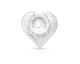 Sterling Silver 8.8mm Dapped Heart Charms with 0.5mm hole in the center - 5pcs Made in USA (3930)/1