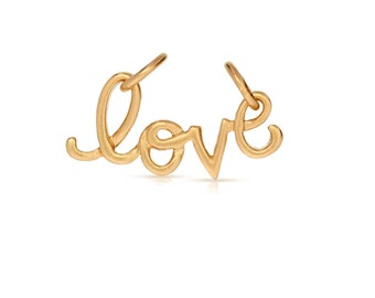 24K Gold Plated Sterling Silver 11x19mm Cursive Love charm - 1pc 10% discounted High Quality charms (6072)/1