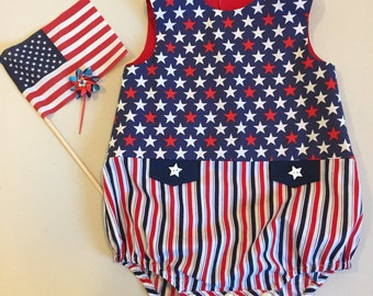 Hooray for the red, white and blue! Patriotic button back onesie